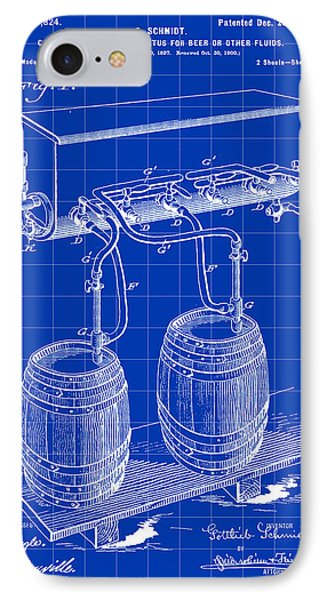 Pressure Apparatus For Beer Patent 1897 - Blue IPhone Case by Stephen Younts