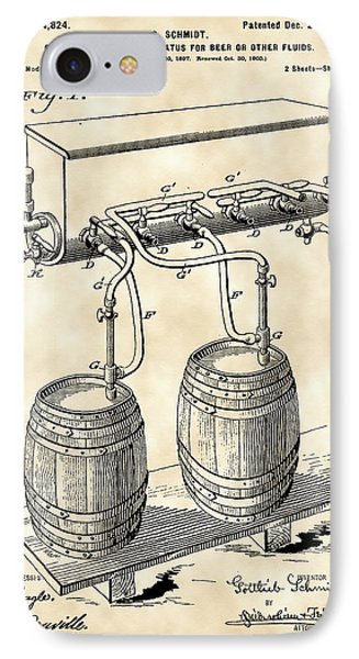 Pressure Apparatus For Beer Patent 1897 - Vintage IPhone Case by Stephen Younts