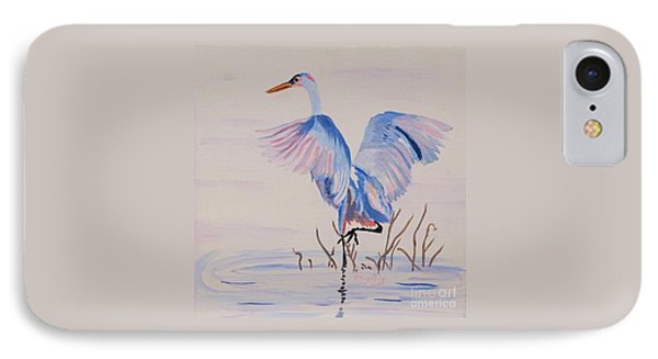 IPhone Case featuring the painting Pretty Crane by Phyllis Kaltenbach