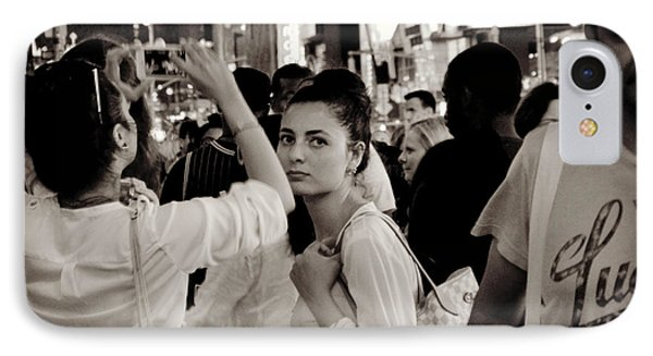 Pretty Girl In The Crowd - Times Square - New York Phone Case by Miriam Danar
