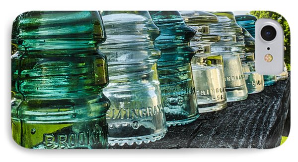 Pretty Glass Insulators All In A Row IPhone Case by Deborah Smolinske