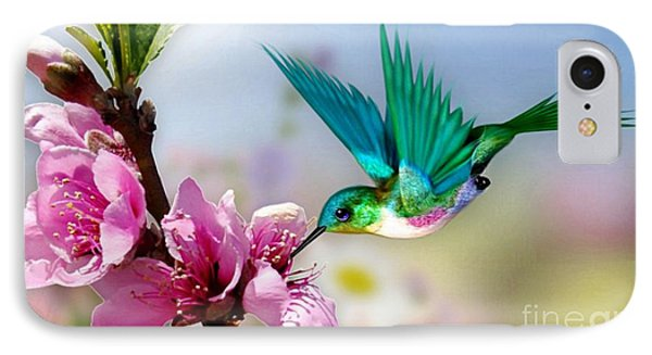 IPhone Case featuring the mixed media Pretty Hummingbird by Morag Bates