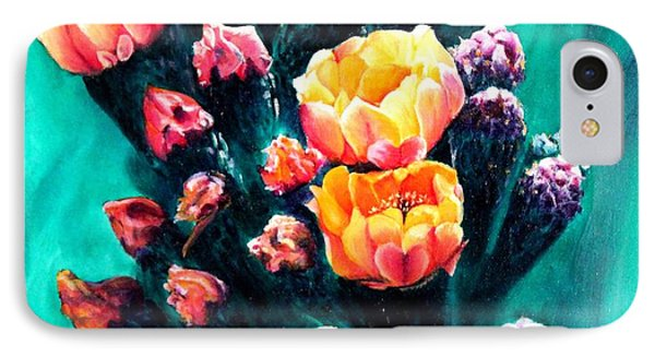 IPhone Case featuring the painting Prickly Pear Cactus Painting by Judy Filarecki