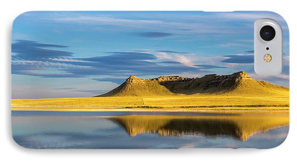 Priest Butte Reflects Into Wetlands IPhone Case by Chuck Haney