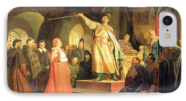 Prince Roman Of Halych-volhynia Receiving The Ambassadors Of Pope Innocent IIi, 1875 Oil On Canvas IPhone Case by Nikolai Vasilievich Nevrev