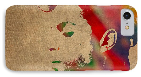 Prince Watercolor Portrait On Worn Distressed Canvas Phone Case by Design Turnpike