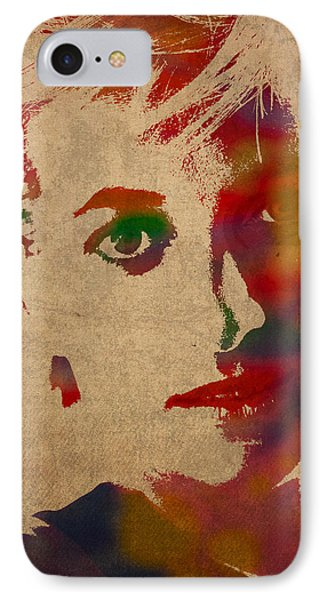 Princess Diana Watercolor Portrait On Worn Distressed Canvas IPhone Case by Design Turnpike