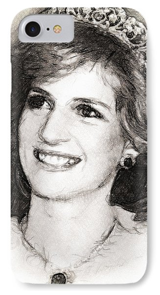 IPhone Case featuring the drawing Princess Diana by Wayne Pascall