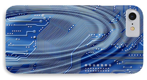 Printed Circuit With Waves IPhone Case by Michal Boubin