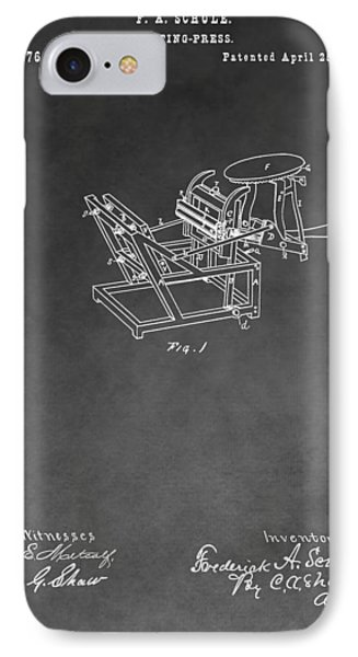 Printing Press Patent Drawing IPhone Case by Dan Sproul