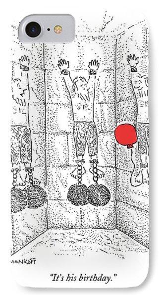 Dungeon iPhone 7 Case - Prisoner In Dungeon Has Orange Balloons Attached by Robert Mankoff
