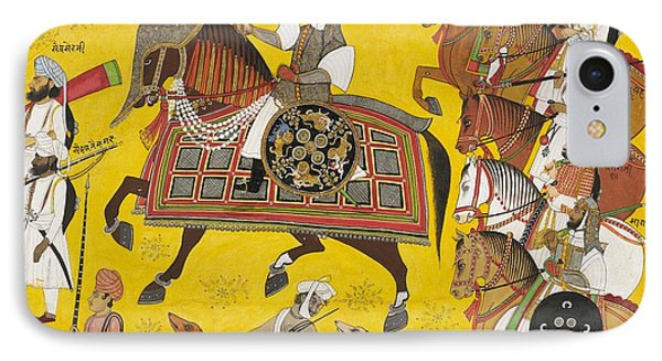 Processional Portrait Of Prince Bhawani Sing Of Sitamau Phone Case by Pyara Singh