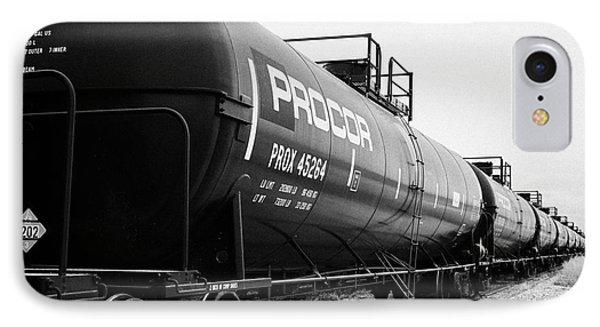 procor freight grain trucks on former canadian pacific railway now great sandhills railway Saskatche IPhone Case by Joe Fox