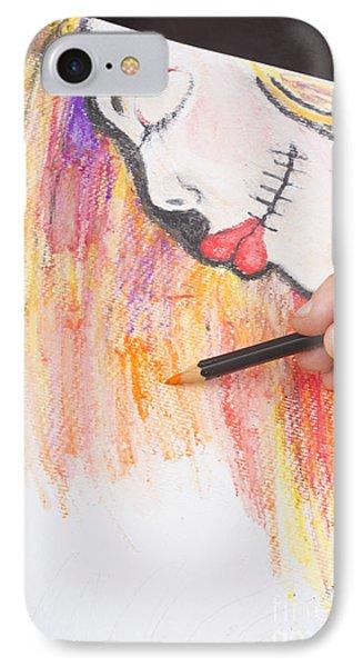 Professional Artist Illustrating Sugar Skull Girl IPhone Case by Jorgo Photography - Wall Art Gallery