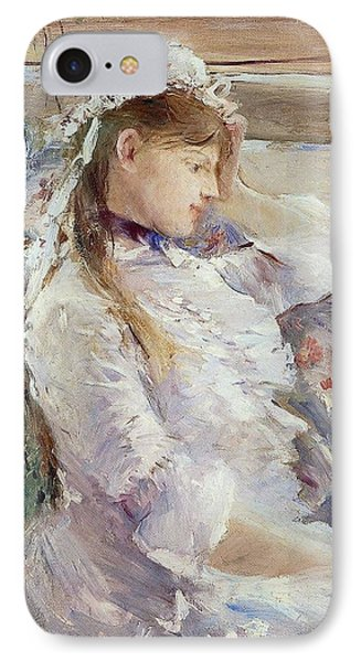 Profile Of A Seated Young Woman Phone Case by Berthe Morisot