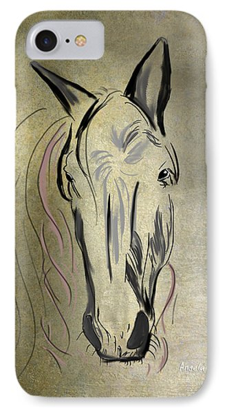 Profile Of A White Horse Phone Case by Angela A Stanton