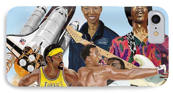 IPhone Case featuring the digital art Jimi, Muhammad Ali, Wilt Chamberlain And Mae Carol Jemison by Thomas J Herring