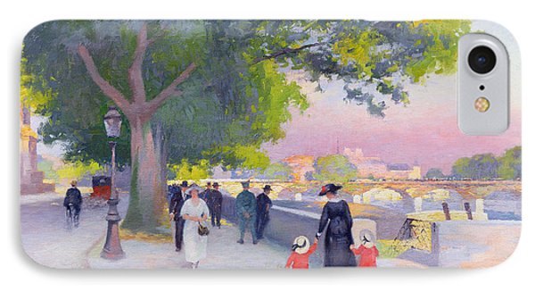 Promenade On The Banks Of The Seine IPhone Case by Jules Ernest Renoux