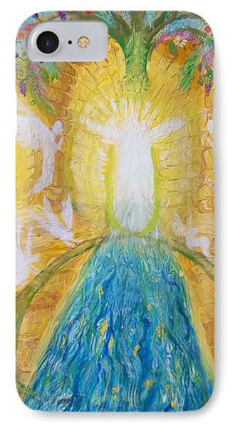 Prophetic Message Sketch 11 Two Trees Become One Tree And River Of Life Phone Case by Anne Cameron Cutri