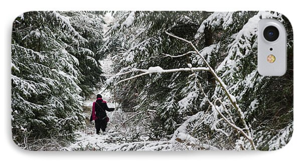 Protective Forest In Winter With Snow Covered Conifer Trees Phone Case by Matthias Hauser