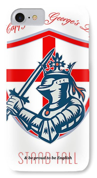 Proud To Be English Happy St George Day Shield Card Phone Case by Aloysius Patrimonio