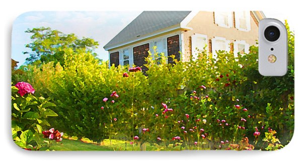 Provincetown Cottage With Green Brown And Pink IPhone Case by Brooke T Ryan