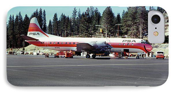 Psa Lockheed L188c Electra   N171p Cindy Lake Tahoe Airport IPhone Case by Wernher Krutein