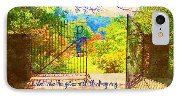 Psalm 100 4 Gate Phone Case by Michelle Greene Wheeler