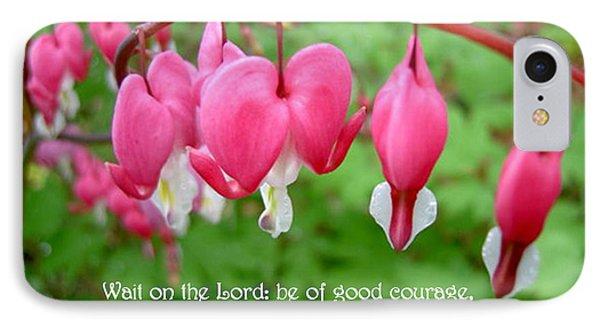 Psalms 27 14 Bleeding Hearts IPhone Case by Sara  Raber