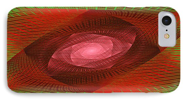 Psychedelic Spiral Vortex Green And Red Fractal Flame Phone Case by Keith Webber Jr