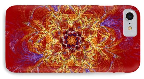Psychedelic Spiral Vortex Red Orange And Blue Fractal Flame Phone Case by Keith Webber Jr