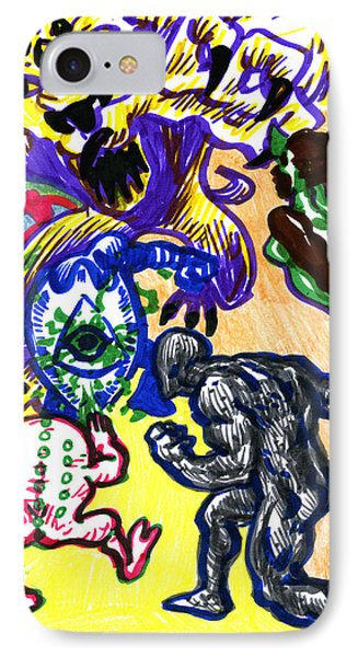 IPhone Case featuring the drawing Psychedelic Super Battle by John Ashton Golden