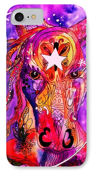 Psychedelic Tattooed Horse's Head Phone Case by Ellen Levinson