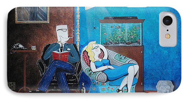 Psychiatrist Sitting In Chair Studying Spider's Reaction IPhone Case by John Lyes