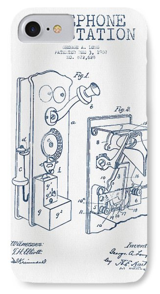 Public Telephone Patent Drawing From 1907  - Blue Ink IPhone Case by Aged Pixel