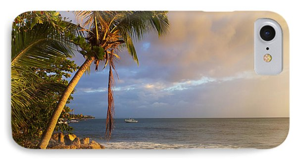 Puerto Rico Palm Lined Beach With Boat At Sunset Phone Case by Jo Ann Tomaselli