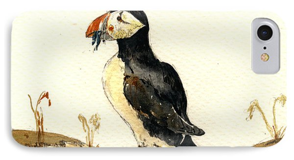 Puffin With Fishes IPhone Case