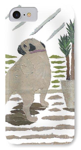 Pug Art Hand-torn Newspaper Collage Art Phone Case by Keiko Suzuki Bless Hue