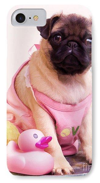 Pug Puppy Bath Time Phone Case by Edward Fielding