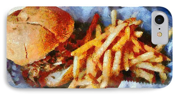 Pulled Pork Sandwich And French Fries IPhone Case by Dan Sproul
