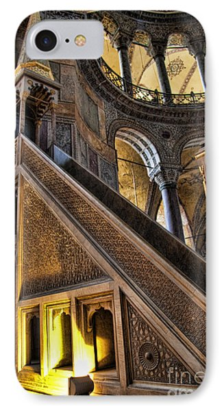 Pulpit In The Aya Sofia Museum In Istanbul  IPhone Case by David Smith