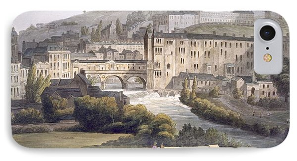 Pulteney Bridge, From Bath Illustrated IPhone Case by John Claude Nattes