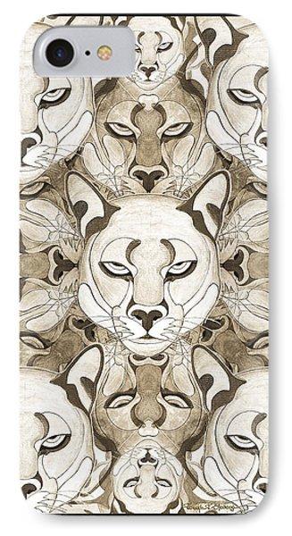 IPhone Case featuring the mixed media Puma Spirits by Joseph J Stevens