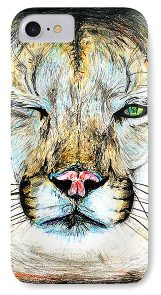 IPhone Case featuring the drawing Puma Winking Eye by Daniel Janda