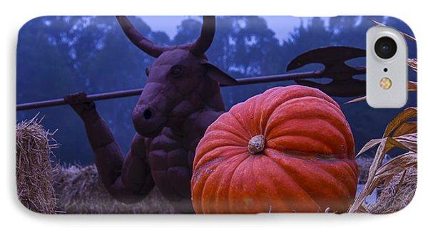 Minotaur iPhone 7 Case - Pumpkin And Minotaur by Garry Gay
