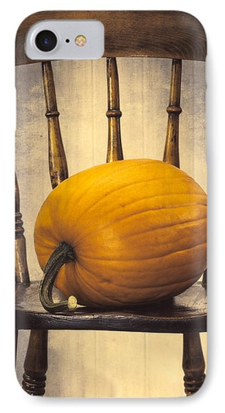 Pumpkin On Chair IPhone Case by Amanda Elwell