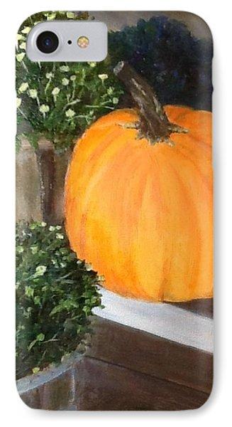 Pumpkin On Doorstep Phone Case by Cindy Plutnicki
