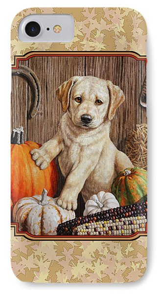 Pumpkin Puppy Leafy Background IPhone Case