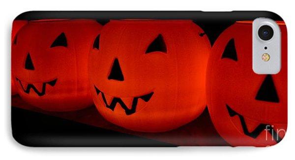 Pumpkins Lined Up IPhone Case by Kerri Mortenson