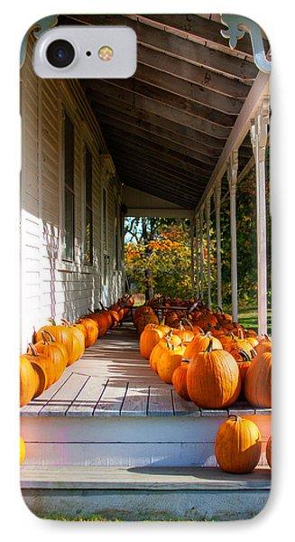 Pumpkins On A Porch IPhone Case by Karen Stephenson